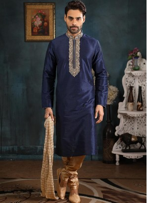 Banarasi Art Silk Function Wear Blue Color Kurta Pajama