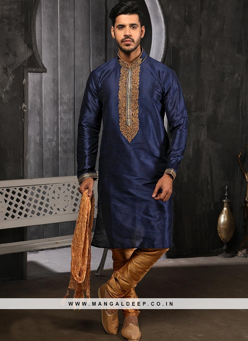 Banarasi Art Silk Function Wear Blue Color Kurta Pajama