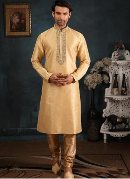 Banarasi Art Silk Function Wear Cream Color Kurta Pajama
