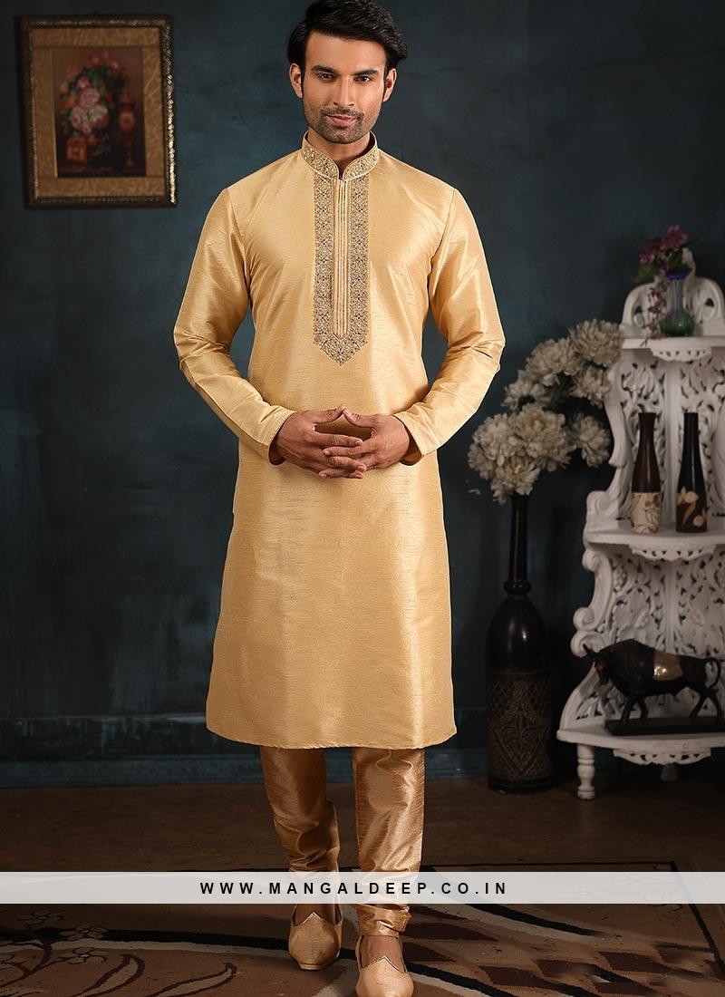 Banarasi Art Silk Function Wear Cream Color Kurta Pajama