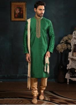 Banarasi Art Silk Function Wear Green Color Kurta Pajama
