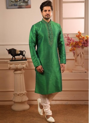 Banarasi Art Silk Function Wear Green Color Kurta Pajama