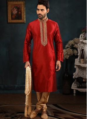 Banarasi Art Silk Function Wear Maroon Color Kurta Pajama
