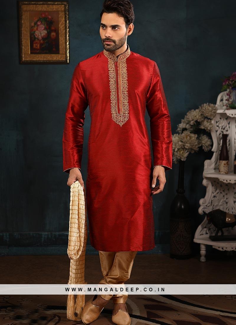 Banarasi Art Silk Function Wear Maroon Color Kurta Pajama