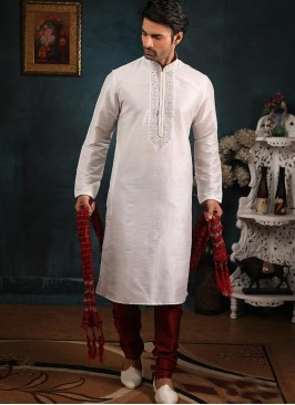 Banarasi Art Silk Function Wear Off White Color Kurta Pajama