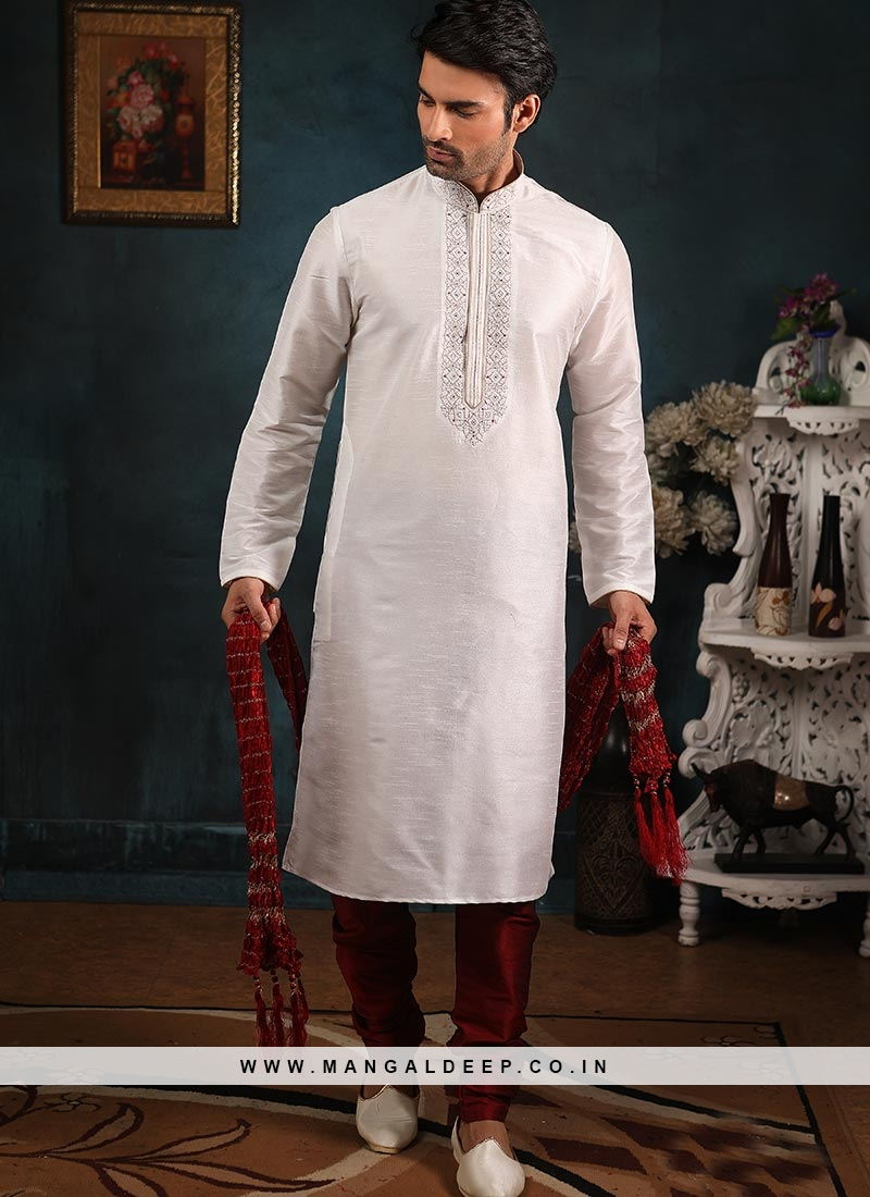 Banarasi Art Silk Function Wear Off White Color Kurta Pajama