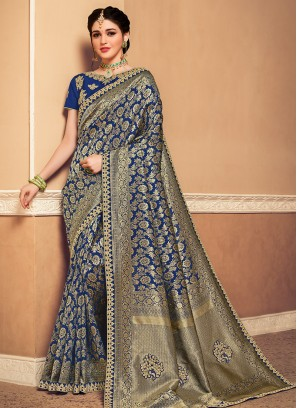Banarasi Silk Festive Wear Designer Saree In Blue Color