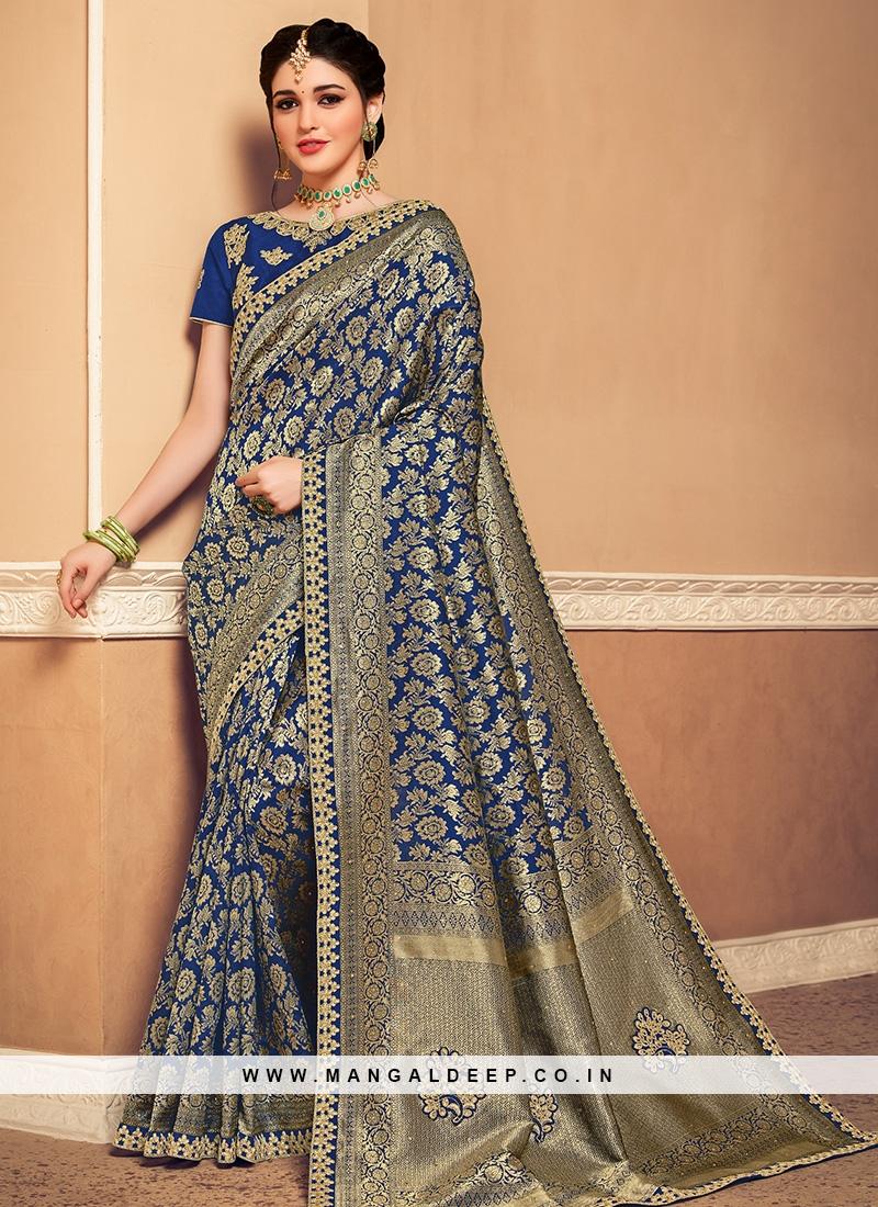 Banarasi Silk Festive Wear Designer Saree In Blue Color