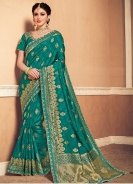 Banarasi Silk Festive Wear Designer Saree In Green Color