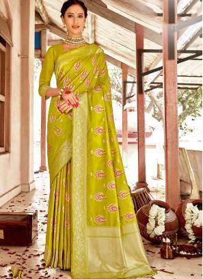 Banarasi Silk Saree In Green