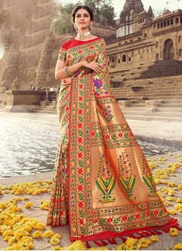 Banarasi Silk Zari Work Saree In Red