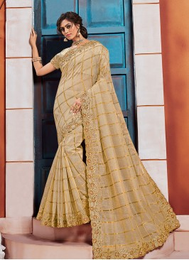 Beautiful Beige Color Function Wear Embroidered Saree