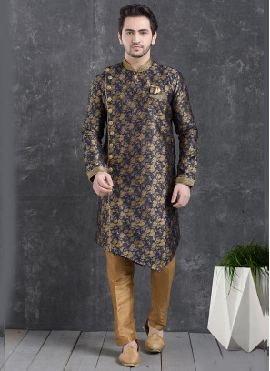 Beautiful Blue Color Function Wear Indo Western Kurta Pajama