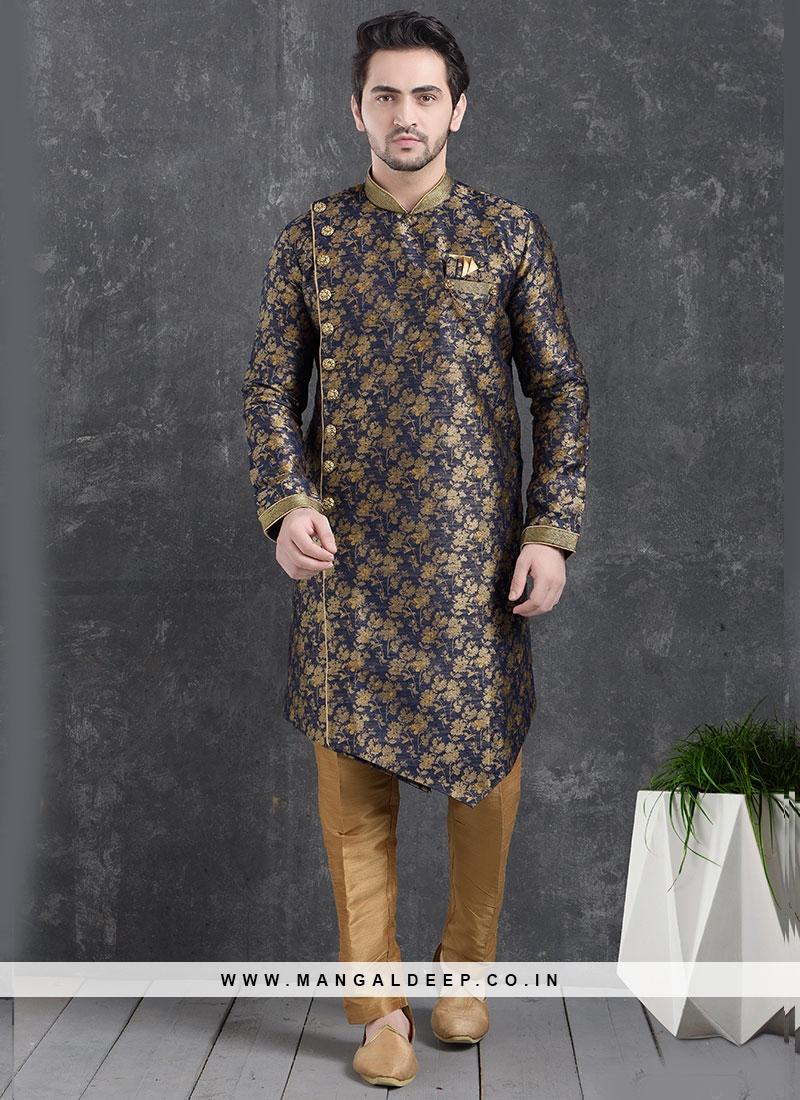 Beautiful Blue Color Function Wear Indo Western Kurta Pajama