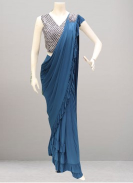 Beautiful Blue Color Party Wear Saree
