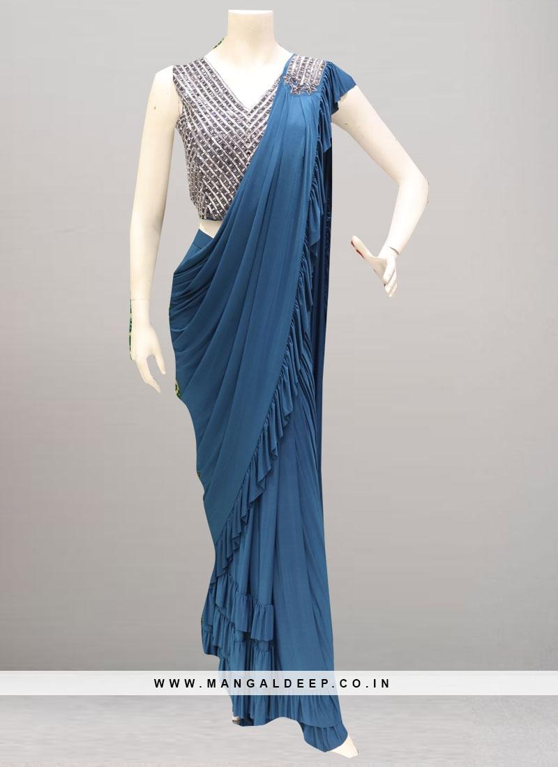 Beautiful Blue Color Party Wear Saree