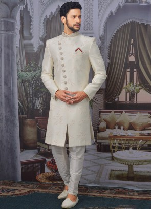 Beautiful Cream Color Function Wear Designer Sherwani