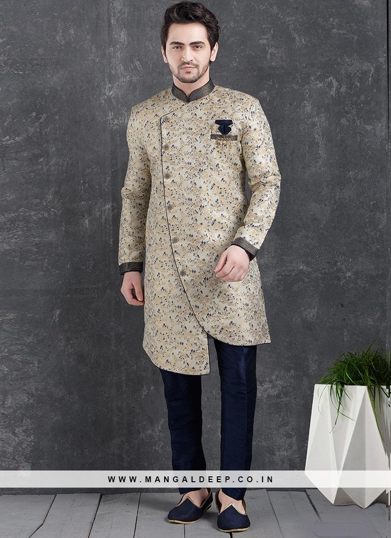 Beautiful Cream Color Function Wear Indo Western Kurta Pajama