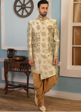 Beautiful Cream Color Function Wear Indo Western Suit