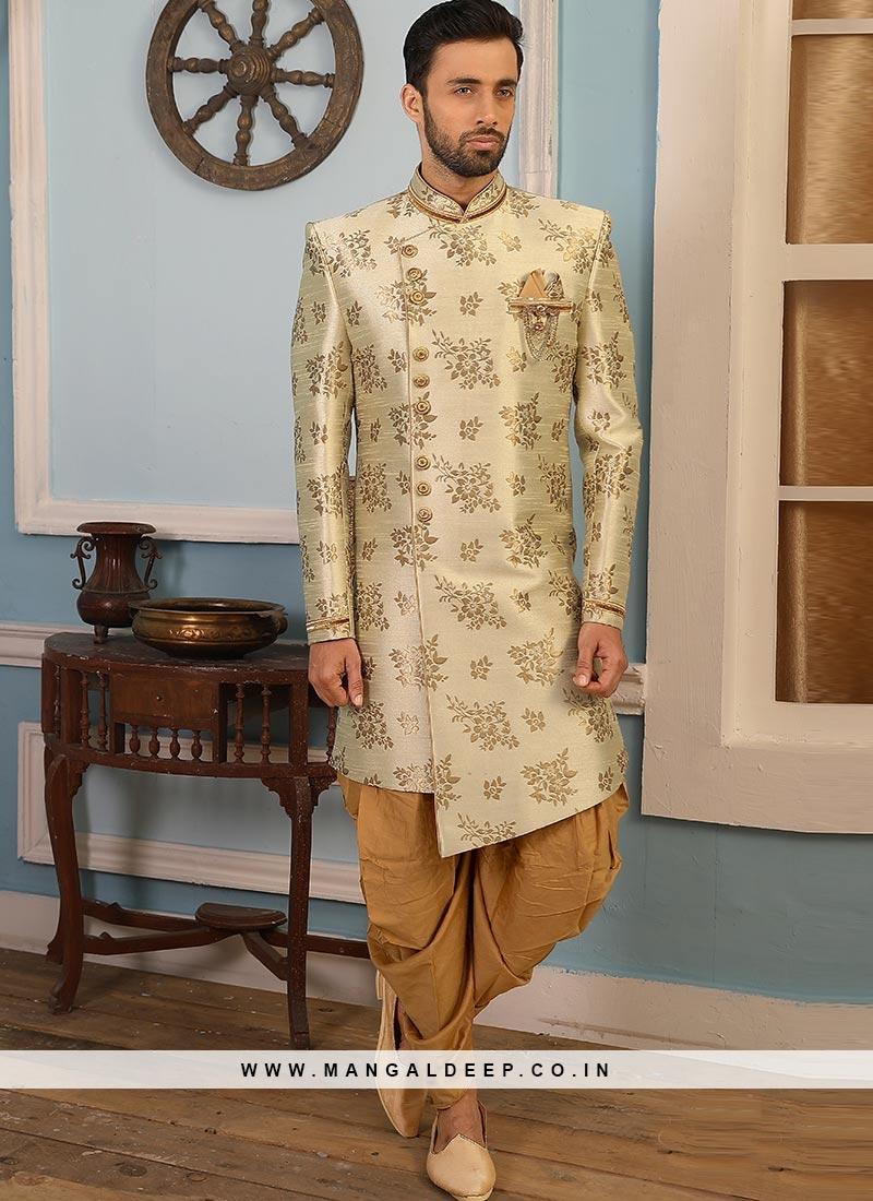 Beautiful Cream Color Function Wear Indo Western Suit