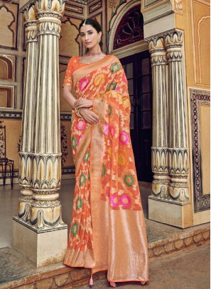 Beautiful Orange Color Embroidered Designer Saree
