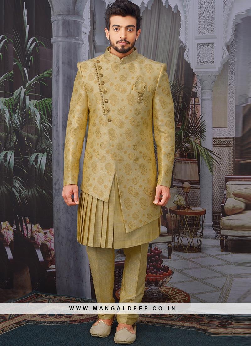 Beautiful Gold Color Function Wear Designer Indo Western