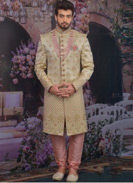 Beautiful Gold Color Function Wear Designer Sherwani