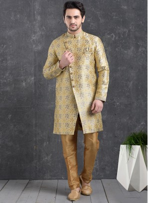 Beautiful Gold Color Function Wear Indo Western Kurta Pajama
