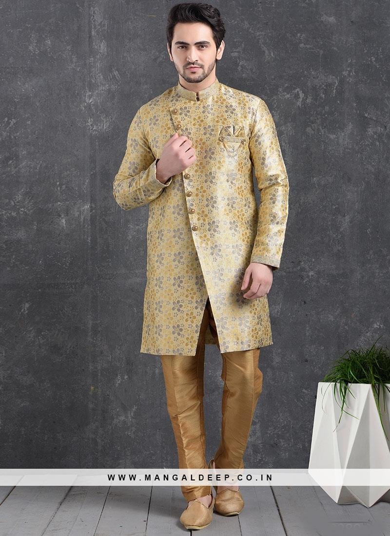 Beautiful Gold Color Function Wear Indo Western Kurta Pajama