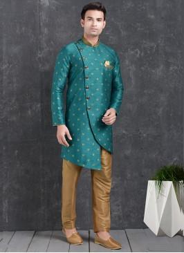 Beautiful Green Color Function Wear Indo Western Kurta Pajama