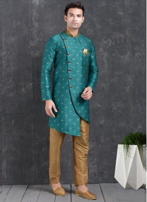 Beautiful Green Color Function Wear Indo Western Kurta Pajama