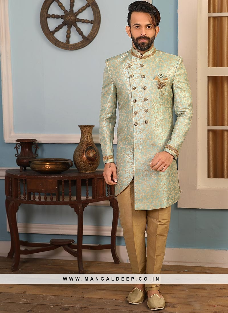 Beautiful Green Color Function Wear Indo Western Suit