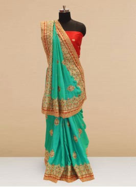 Beautiful Green Color Party Wear Silk Saree
