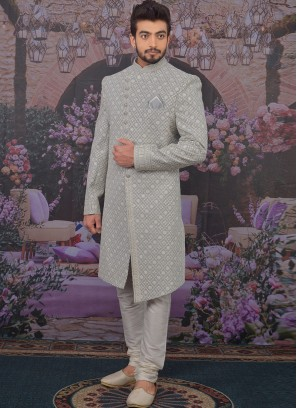 Beautiful Grey Color Function Wear Designer Sherwani