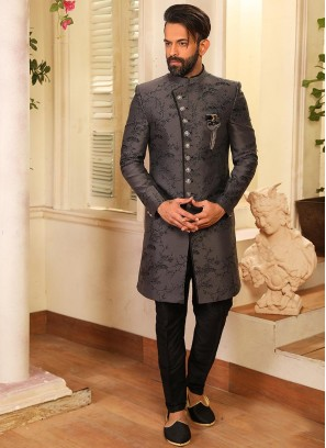Beautiful Grey Color Function Wear Indo Western Suit