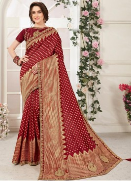 Beautiful Maroon Color Function Wear Embroidered Saree
