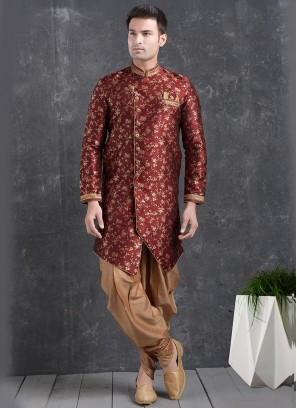 Beautiful Maroon Color Function Wear Indo Western Kurta Pajama