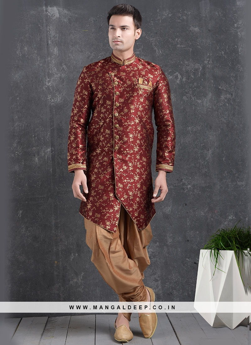 Beautiful Maroon Color Function Wear Indo Western Kurta Pajama