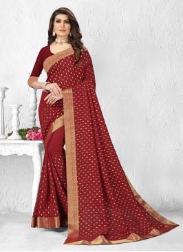 Beautiful Maroon Color Silk Saree