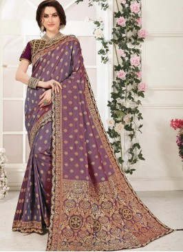 Beautiful Multi Color Function Wear Embroidered Saree