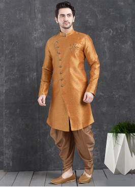 Beautiful Orange Color Function Wear Indo Western Kurta Pajama