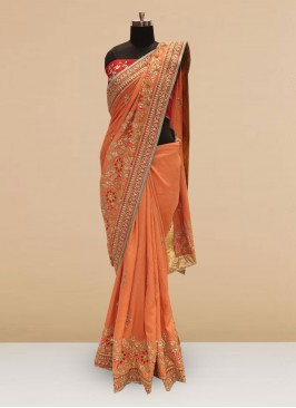 Beautiful Orange Color Party Wear Silk Saree