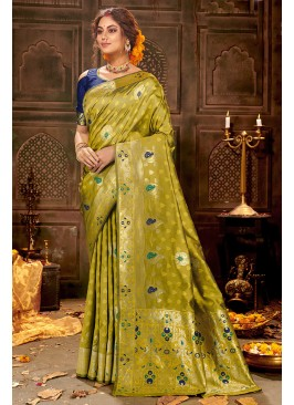 Beautiful Party Wear Saree In Green Color