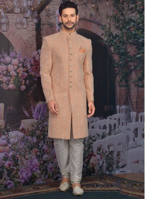 Beautiful Peach Color Function Wear Designer Sherwani