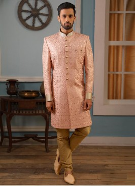 Beautiful Peach Color Function Wear Indo Western Suit