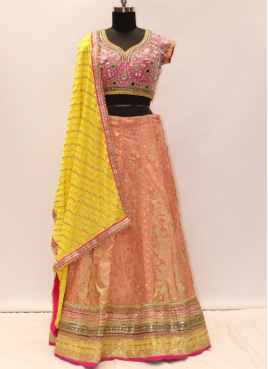 Beautiful Peach Color Party Wear Designer Lehenga