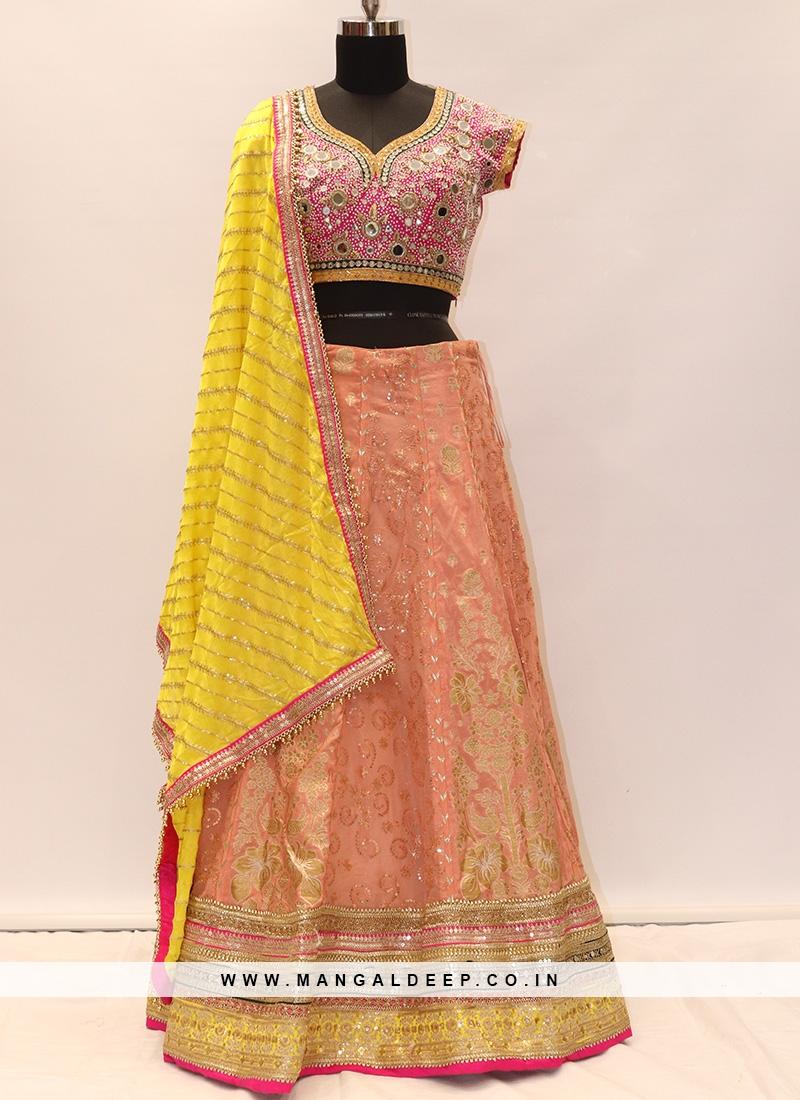 Beautiful Peach Color Party Wear Designer Lehenga