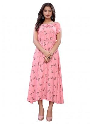Beautiful Pink Color Cotton Kurti