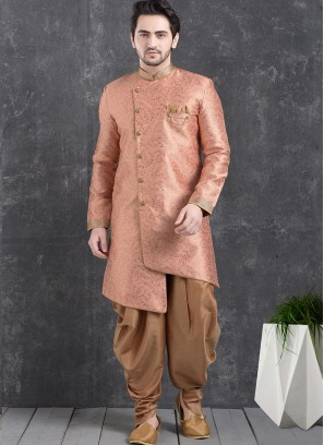 Beautiful Pink Color Function Wear Indo Western Kurta Pajama