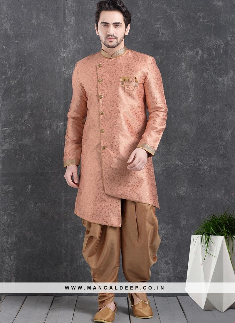 Beautiful Pink Color Function Wear Indo Western Kurta Pajama